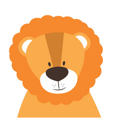 funny doodle animal little lion in cartoon style vector image