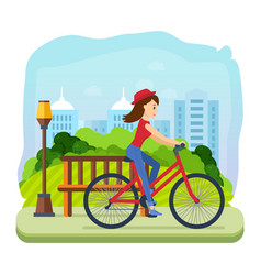 girl in summer clothes riding a bike for park vector image