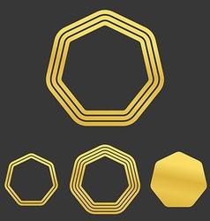 Golden line heptagon logo design set vector