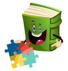 Green book is playing puzzle on white background vector