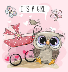 greeting card it is a girl with baby carriage and vector image
