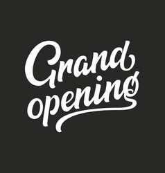 hand drawn lettering grand opening ink vector image