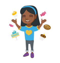 happy african girl standing among lots of sweets vector image