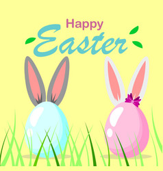 Happy easter template with eggs and bunny ears vector