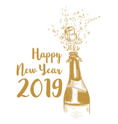 happy new year 2019 a bottle of champagne vector image