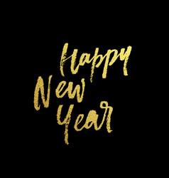 happy new year golden glitter calligraphy vector image