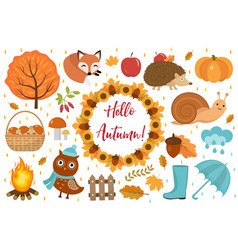 hello autumn icons set flat or cartoon style vector image vector image
