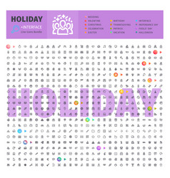 holiday thematic collection line icons vector image