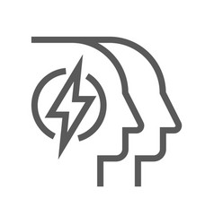 Human resource management line icon mind power vector