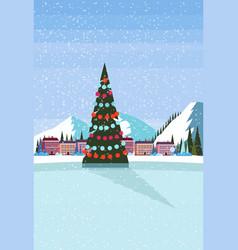 ice skating rink decorated christmas tree ski vector image