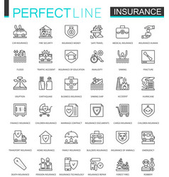 Insurance thin line web icons set car house vector
