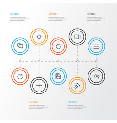 Interface outline icons set collection of vector