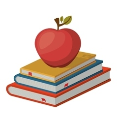 Isolated book and apple design vector image
