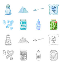 Isolated object cooking and sea symbol set of vector