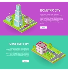 Isometric City Buildings Web Banners Set vector image