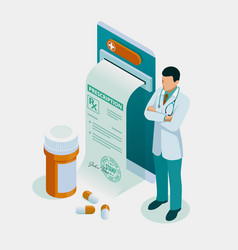 Isometric online doctor consultation healthcare vector
