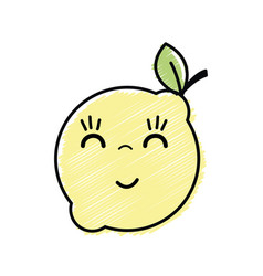 Kawaii nice happy lemon fruit vector
