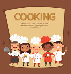 kids characters prepare food cooking chefs vector image