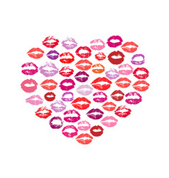 lipstick kiss print heart white background vector image