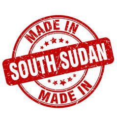 made in south sudan red grunge round stamp vector image