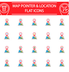 map pointer flat icon set gps and location vector image