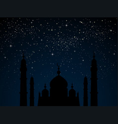 Mosque on starry night sky with blue glow vector