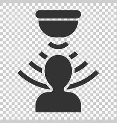 motion sensor icon in flat style sensor waves vector image