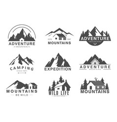 mountain logo flat set design vector image