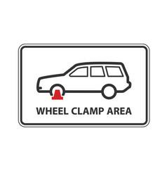 no parking wheel clamping zone warning sign car vector image