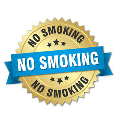 No smoking 3d gold badge with blue ribbon vector