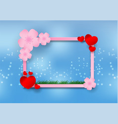 paper art style of cherry blossom with heart and vector image