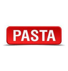 Pasta red 3d square button isolated on white vector