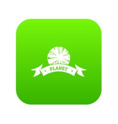 planet astronomy icon green vector image