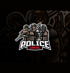 police mascot sport logo design vector image