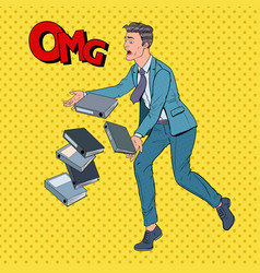 pop art businessman dropping folder documents vector image
