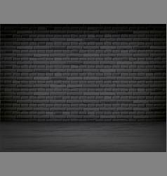 Realistic black brick wall wood floor room vector
