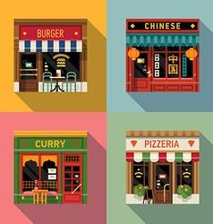 Restaurant shopfront icon set vector