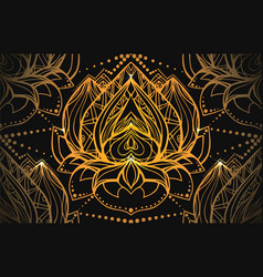Seamless luxury pattern with gold lotus with boho vector