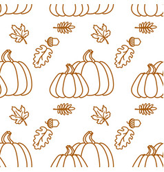 Seamless pattern with outline pumkin and leaf vector