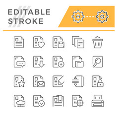 set editable stroke line icons document vector image