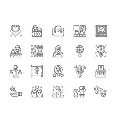 Set feminism line icons female protest salary vector