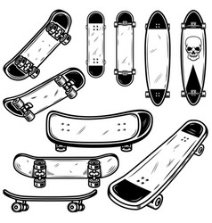 set of skateboard and longboard on white vector image