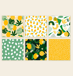 set seamless patterns with lemons exotic palm vector image