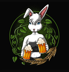 sexy rabbit offers a beer vector image