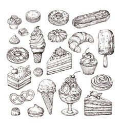 sketch dessert cake pastry and ice cream apple vector image