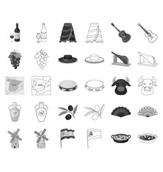 Spain country monochromeoutline icons in set vector