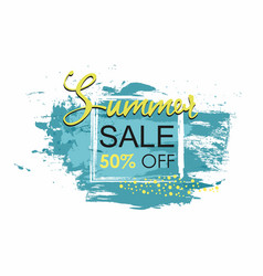 summer sale template grunge brush blue paint vector image