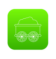 Train wagon icon green vector