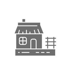 Ukrainian hut traditional village house gray icon vector