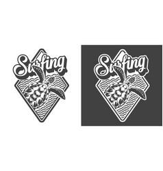 vintage monochrome surfing logo vector image
